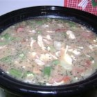 Chicken Stock Gumbo - A hearty gumbo that's packed with vegetables. The sausage, bacon and rice are sure to satisfy the biggest appetite.