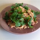 Spicy Peanut Chicken - Noodles are served with chicken and a scorching hot peanut sauce with a kick of curry.