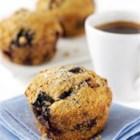 Whole Wheat Blueberry Muffins - Whole wheat flour and 2 full cups of blueberries give these hearty muffins their nutty, wholesome flavor. They take only 35 minutes from mixing ingredients to pulling from the oven.
