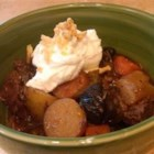 Beef Stew with Ale - Celery root, turnips, and red pearl onions simmer with beef brisket cubes in brown lager in this hearty stew.