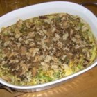 Broccoli Casserole II - Broccoli is baked with processed cheese sauce, mayonnaise, and cream of mushroom soup with a bread crumb crust in this casserole which takes about an hour to prepare.