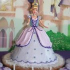Barbie Doll Cake - A cake that is the skirt for a doll. The icing can be piped on to make it look like a fancy dress. Make 4 cups of white frosting or use ready-made.