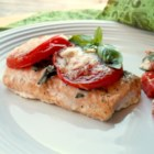 Tomato Basil Salmon - This quick salmon dish is perfect for a weeknight dinner. Serve with a side of sauteed spinach and a glass of pinot noir.