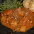 French Beef Stew - Thyme and Dijon mustard make this a tangy stew. It is made with plenty of vegetables -  carrots, potatoes, and tomatoes.