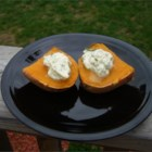 Sweet Potatoes with Poblano Butter Topping - Top baked, steamed or microwave-cooked sweet potatoes with a zesty blend of soy butter sparked with heat from minced poblano chiles. Regular butter can also be used.
