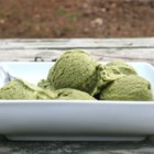 123 Green Tea Ice Cream - Green tea powder, also called 'matcha,' is mixed with vanilla ice cream for a quick treat.
