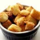 Cinnamon Croutons - This is a very simple recipe for cinnamon-flavored croutons. They are delicious with a salad that includes fresh fruit, such as pears or strawberries!