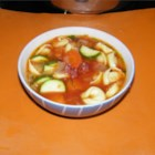 Tortellini Soup I - Italian sausage and  tortellini are paired in this beef broth based soup with carrots, celery and zucchini.  Serve with grated Parmesan cheese.