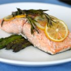 Lemon Rosemary Salmon - Salmon fillets are baked with lemon, rosemary, olive oil, and coarse salt in this simple preparation for an impressive romantic meal!