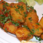 Aloo Phujia - Spicy potatoes, tomatoes and onions with an Indian kick! This is super spicy so be aware!