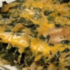 Easy Spinach Casserole - Chopped spinach and cream cheese are blended together and baked under a bread crumb crust in this easy-to-prepare side dish serving six.