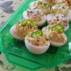 The Devil's Own Deviled Eggs - Habanero and jalapeno peppers bring the fire to the traditional deviled egg.