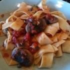 Pappardelle Puttanesca - A fantastic variation of a simple but delicious Italian dish, my Puttanesca is a mildly spicy white wine tomato sauce with fresh garlic, mushrooms, capers, and anchovy-stuffed green olives.
