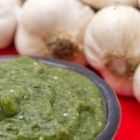 Roasted Tomatillo and Garlic Salsa - Tomatillos, lots of garlic and spicy jalapenos charred under the broiler give this salsa a rich, earthy flavor.