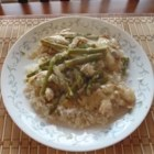 Creamy Chicken Asparagus Casserole - Tender asparagus and tarragon add a delicate note to this almond-topped casserole.