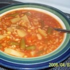 Quick and Easy Vegetable Soup - This tasty homemade vegetable soup recipe with a tomato base features potatoes, green beans, and carrots for a quick and easy meal.