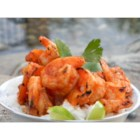 Bloody Shrimp - I like serving this dish as brunch when an all-day barbeque is planned. I usually serve it over rice with lemon wedges as a garnish. Halibut pieces and shrimp are marinated in spiced up Bloody Mary mix to make easy and excellent grilling fare.