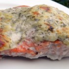 Dill-Tarragon Salmon - Baking salmon fillets with a coating of yogurt, herbs, and cheese results in an impressive looking dish in minimal time!