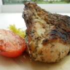 Greek Chicken - A very good light summer dish. Serve it with sliced fresh tomatoes, feta cheese, and garlic bread.