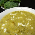 Broccoli and Stilton Soup - A pureed broccoli, potato soup is heightened with the addition of blue cheese.