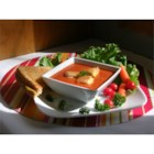 Jersey Fresh Tomato Soup - Using 2% milk gives this rustic soup just a little bit of creaminess without all of the fat. You can easily make it vegetarian by substituting the chicken broth with vegetable broth.