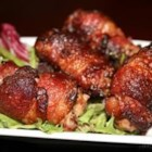 Chicken Liver Appetizers - Bacon-wrapped chicken livers-- popular cocktail party fair.