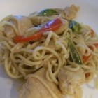 Pasta With Peanut Sauce - A sweet, savory saute of bell pepper, green onion and bean sprouts is tossed with strips of cooked chicken and angel hair pasta, and coated with an exotic blend of peanut butter, soy sauce, chicken broth and fresh ginger.