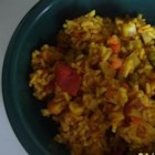 Vegetable Biryani - This is a tasty and interesting vegetable biryani. The color looks appetizing and the taste is great! It's delicious served with mint chutney or simple, plain yogurt.