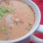 Shrimp Bisque II - Shrimp shells and spices are simmered in thickened seafood stock seasoned with paprika and tomato paste, then combined with shrimp, cream and sherry in this classic bisque.