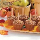 Caramel Apple Cupcakes  - Cute spice-apple cupcakes with dreamy caramel frosting even have sticks to make them look like candy apples.