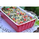 Holiday Hot Spinach Dip - Serve your favorite crackers with this colorful red and green Christmas appetizer.