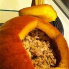 Stuffed Pumpkin I - This is a beautiful dish to serve as a centerpiece to your holiday celebration. A whole pumpkin is stuffed with a savory meat mixture. The recipe calls for venison, but ground beef may be substituted.
