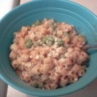Pasta Peas - Elbow macaroni with peas, tomato sauce and Parmesan cheese.