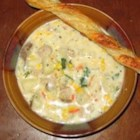 Corn Chowder with Sausage - Evaporated milk is used as the base for this hearty soup with browned sausage, canned cream-style corn and potatoes.
