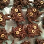 Chocolate Spiders - Even people who don't like spiders will love these spooky treats. Melted chocolate confectioners' coating is the body and chow mein noodles form the legs.