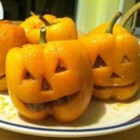 Stuffed Jack-O-Lantern Bell Peppers - Cut faces into stuffed peppers to make cute jack-o'-lanterns for your Halloween dinner. Use yellow or orange peppers for an even more realistic effect. The flavorful beef stuffing is made with whole wheat bread instead of rice.