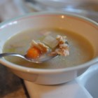 Hatteras Style Clam Chowder - No cream, but a potful of clam juice in this chowder with potatoes, thyme and bacon.