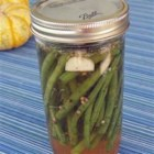 Cold-Pickled Green Beans - Fresh green beans are cold-pickled in tarragon vinegar with dill and garlic for a crispy treat on the relish tray -- or in a Bloody Mary.