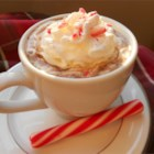 Candy Cane Cocoa - Milk is heated with semisweet chocolate and crushed candy canes. Then each mug is garnished with whipped cream and a small candy cane.