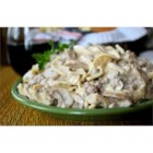 Simple Hamburger Stroganoff - I've always loved the taste of a good stroganoff, but I hated the expense and preparation of beef tips or steak or roast beef to make it.  So I created my own creamy stroganoff.