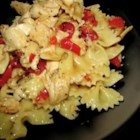Italian Chicken Bow Tie Pasta - Pasta and chicken tossed with Italian dressing and diced tomato can be served as a hot entree or as a cold luncheon salad.