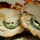 Jalapeno Chicken II - Stuffed jalapeno peppers are wrapped in marinated chicken breasts. Tasty bacon seals the deal!