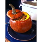 Thanksgiving Stuffed Pumpkin - My sister and I devised this recipe when we were new vegetarians looking for a Thanksgiving main dish in place of turkey. It tastes great and makes a beautiful presentation. We even take the kids on a 'Pumpkin Hunt' in advance of Thanksgiving - so much more humane than a turkey hunt!