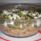 Green Green Pasta - Fresh asparagus, green beans, basil, and broccoli combine with garbanzos in this green, green vegetarian pasta dish.