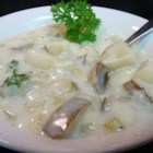 Baking Potato Soup - Potatoes and gravy mix make a quick, thick soup.