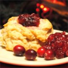 Cape Cod Biscuits - Dollops of whole cranberry sauce add a lovely touch to the center of light drop biscuits.