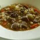 Hearty Beef Soup - This is a very filling, hearty soup with bits of beef, pearl barley, and colorful veggies.