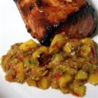 Tropical Salsa with Grilled Mango - I'm proud of this creation! Seasoned with ginger and lime juice, it is a perfect compliment to grilled chicken, grilled or broiled fish, and grilled pork.