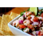 Shrimp Salsa - Salad shrimp, tomatoes, onion, cilantro, and lime juice combine for an tasty version of salsa for dipping your tortilla chips.