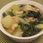 Chicken Tinola - This one-pot wonder combines chicken, chayote squash, bok choy, and spinach in a savory broth.